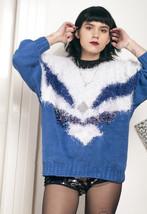 Fluffy knit jumper - 90s vintage weird sweater - $40.11