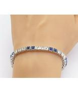 DORSONS 925 Silver - Blue & White Topaz Pattern Shiny Tennis Bracelet - ... - $88.88