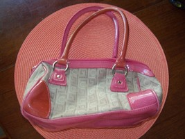 Liz Claiborne Brown/Pink LC Print Hand Bag/Purse EUC - $18.00