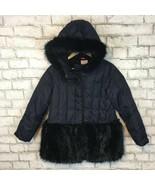 J.Crew Crewcuts Girls Black Fur-Trimmed Puffer Coat Size 10 Style J5531 - $35.09