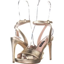 Nine West Quisha Criss Cross Ankle Strap Sandals 787, Light Gold, 6 US - $29.75