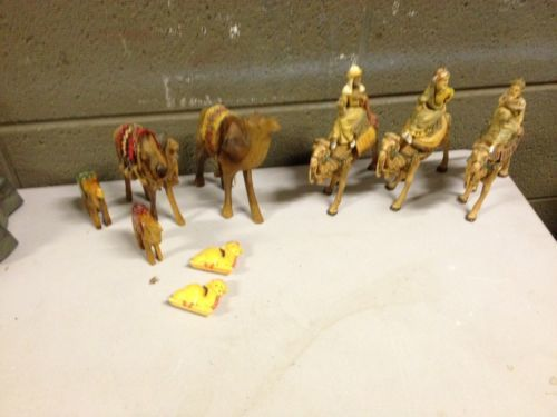 "Primary image for Vintage Fontanini Nativity 3 Wise Men on Camel 6.5"" Tall W/ Extra Hand Carved Wo"