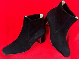 """Salvatore Ferragamo Ankle Boot/Booties Black Suede Leather 7 1/2 B 2"""" Bl... - $97.02"""