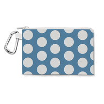 Large Polka Dots on Blue Canvas Zip Pouch - $15.99+