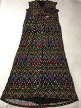 Ellen Tracy Womens 16 Chevron Watercolor Rainbow Burst Maxi Dress - $29.99