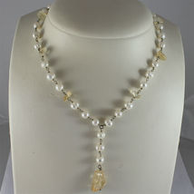 .925 RHODIUM SILVER NECKLACE, SCARF,WHITE BAROQUE PEARLS, YELLOW CRACK CRISTALS. image 3