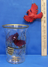 Hand Painted Cardinal Bird Glass Candle Holder Vase with Ornament Lot of 2 - €11,65 EUR