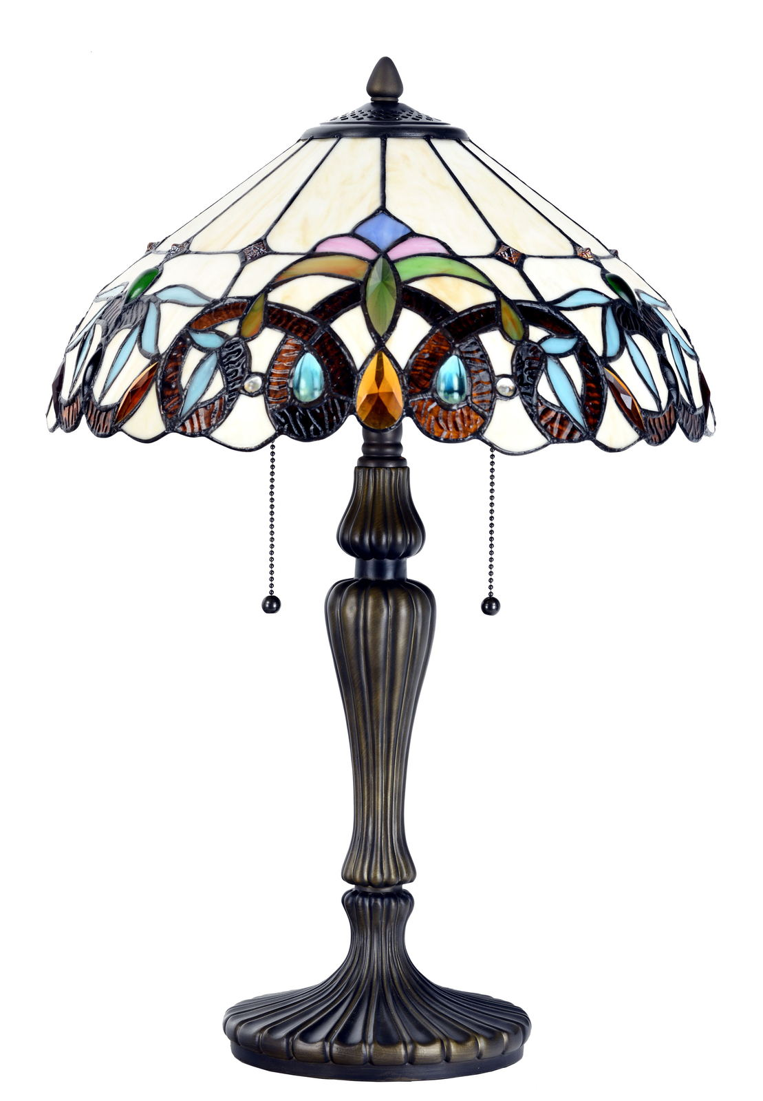 Tiffany Style Table Desk Lamp Victorian Modern Base Stained Glass Home Décor
