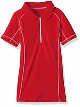 Cherokee Girls' Uniform-Jersey Polo Zip Plaquet, Red, Size Small (7-8) - $7.91