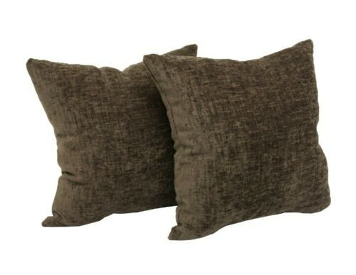 "Decorative Throw Pillow Chenille Brown 18"" set of 2 Mainstays - $33.85"