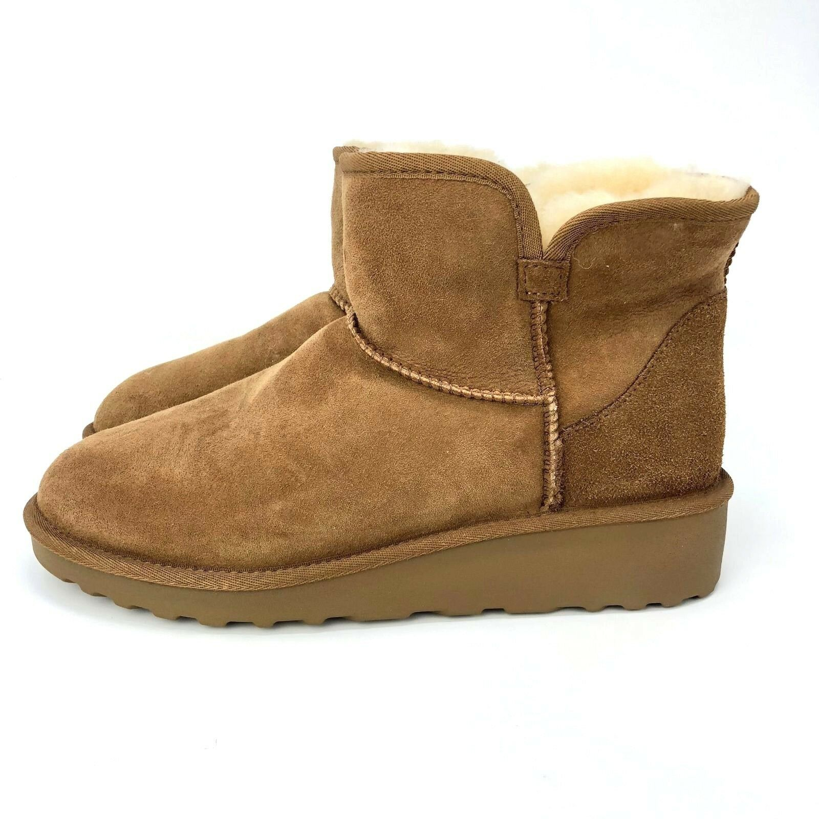 Brand New Kirkland Signature Ladies' Sheep Skin Shearling Short Boots Chestnut