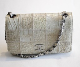 Chanel Beige Croc Embossed Leather Flap Bag Sil... - $5,197.50