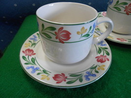 """Beautiful Set of 4 Cups and Saucers FARBERWARE Stoneware """"Dorcester"""" - $22.58"""