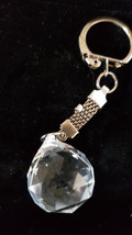 prism keychain keyring keyfob made from glass crystal , teardrop design with our