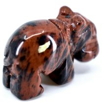 Mahogany Obsidian Gemstone Tiny Miniature Hippo Figurine Hand Carved in China image 4