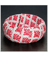 Red Floral Fabric Bangle, Red Fabric Wrapped Bangle, Red and White, Wood... - $9.99