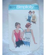 Vintage Sewing Pattern 1980 Corset Lace Front Tank Shirt Simplicity 8072... - $7.79