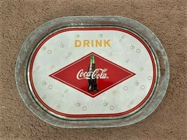 """COCA-COLA 16"""" OVAL GALVANIZED SERVING DRINK COCA-COLA TRAY WITH HANDLES - $11.88"""