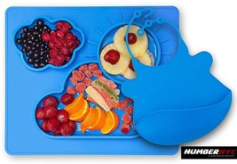 Silicone Non Slip Placemat Divided Food Plate Tray & Blue Bip Toddlers K... - $19.79