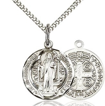 St. Benedict - Pewter  - Pendant on a 18 inch Light Rhodium Light Curb Chain