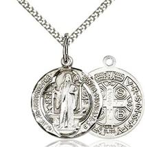 St. Benedict - Pewter  - Pendant on a 18 inch Light Rhodium Light Curb C... - $38.99