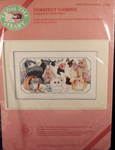 From The Heart Purrfect Garden Cats Kittens Counted Cross Stitch Kit Sealed - $20.79