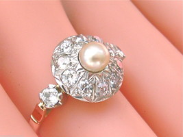 ANTIQUE VICTORIAN 1.25ctw DIAMOND 5mm NATURAL PEARL CLUSTER RING 1930 AR... - $1,682.01