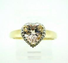 14k Yellow Gold Heart Genuine Natural Morganite Ring with Diamond Halo (... - $395.00