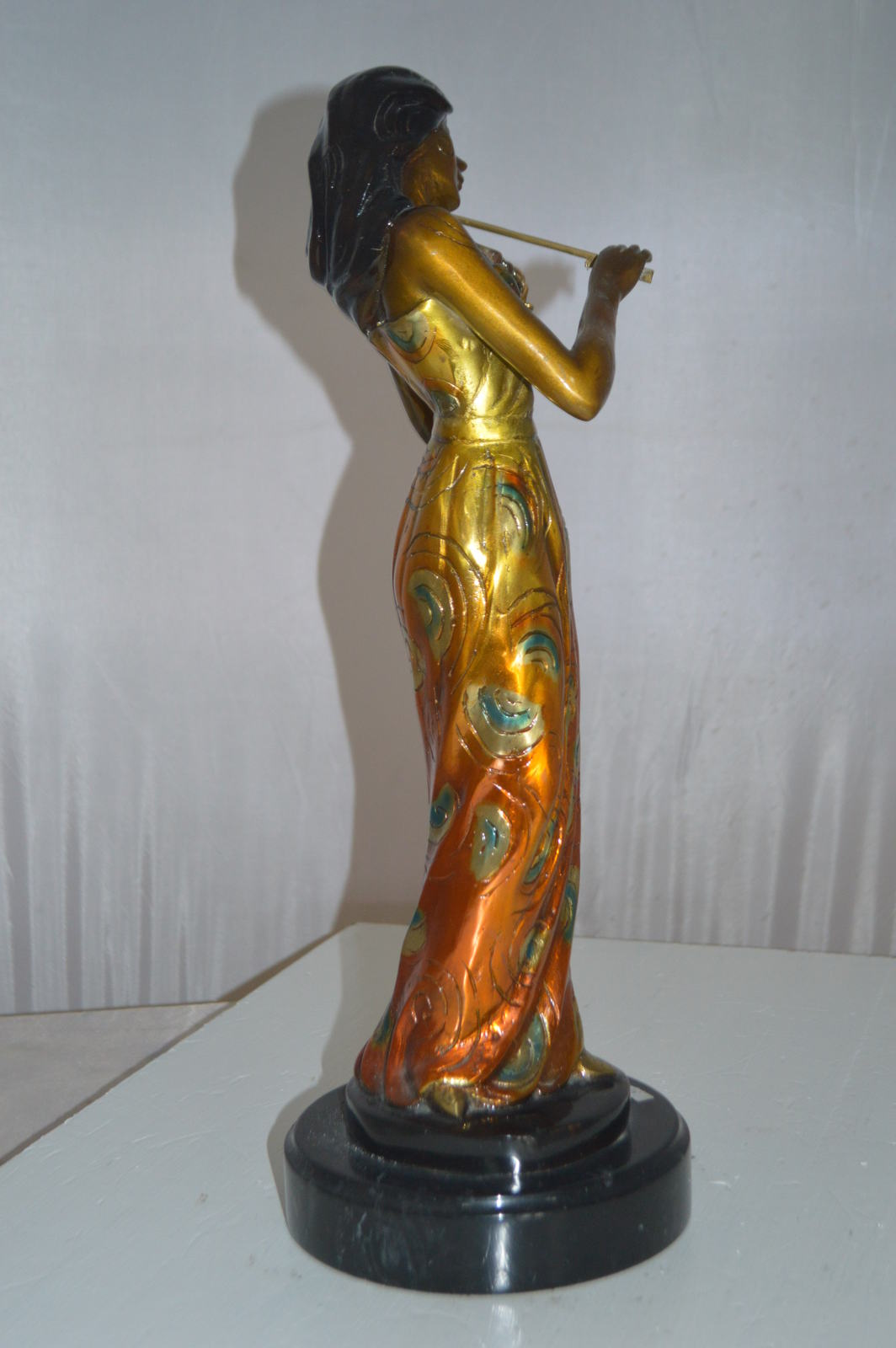 "Girl Playing the violin Bronze Statue -  Size: 10""L x 7""W x 19""H."