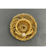 Vintage Straw Hat Brooch Pin Wire Work Faux Pearl Summer Gold Tone - $14.22