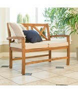 Acacia Wood Outdoor Patio X-Back Loveseat with Cushions - Brown - £312.16 GBP