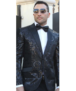 Men Insomnia Manzini Blazer Sequin Stage Performer MZE141 black Paisley ... - $105.00