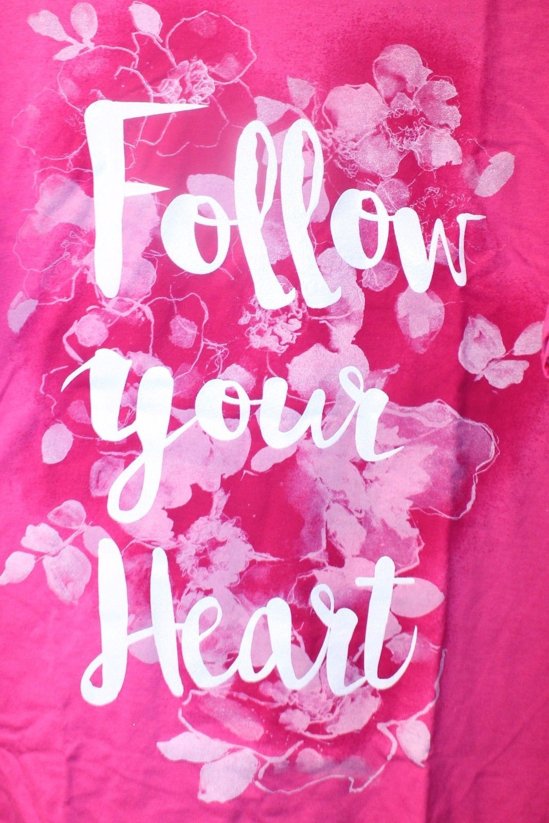 NEW WOMENS PLUS SIZE 5X 30W 32W BRIGHT PINK FOLLOW YOUR HEART FLORAL SHIRT TOP