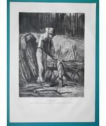 WOODCUTTER Lumberjack - 1876 Antique Print - $8.99