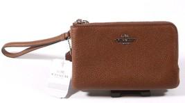NEW Coach Brown Pebbled Leather Double Corner Zip Wristlet - $47.95