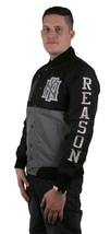 Reason Ny Ropa Negro y Plata Mundo Clase Crew Ripstop Universitaria Chaqueta Nwt image 2