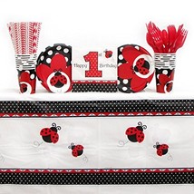 Ladybug Fancy Birthday Party Supplies Pack for 16 Guests | Straws, 16 Pl... - $40.25