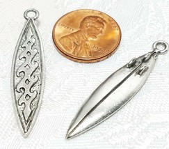 SURF BOARD FINE PEWTER PENDANT CHARM - 8x38x1.5mm image 2