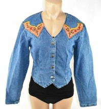 Womens Western Jean Shirt Sz.M SEXY Long Sleeve Button Rodeo Crop Top Ac... - $58.02