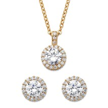 "6.30 TCW CZ 14k Gold-Plated Halo Necklace and Earrings Set 18"" - $12.77"
