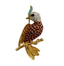 Jomaz Joseph Mazer Gold Tone & Pave Rhinestone Crested Bird Brooch Pin - $165.00