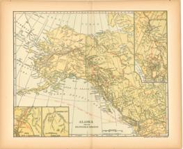 "Original 1903 Antique Map Alaska Dodd Mead & Co.Collectible 12"" X 10"" - $27.47"