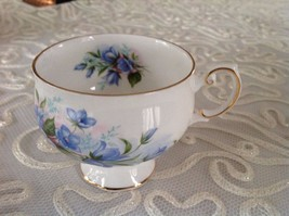 Rosina Bone China Cup Made in England Blue Floral Gold Trim Vintage - $11.86