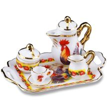 Dollhouse Coffee Tea Set for 1 Reutter 1.622/5 Rooster Miniature - $25.00