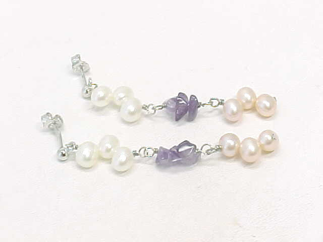 Primary image for AMETHYST with Peaches and Cream PEARLS Dangling EARRINGS in Sterling Silver - 2""
