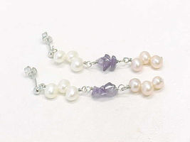 AMETHYST with Peaches and Cream PEARLS Dangling EARRINGS in Sterling Sil... - $45.00