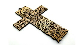 Padre Nuestro Wooden Cross Laser Cut Hand Made Holy Land Jerusalem - $23.13