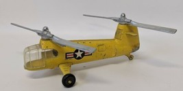 Vintage HUBLEY Kiddie Toy 483 Diecast Yellow 2-Rotor Chinook Military Helicopter - $95.00