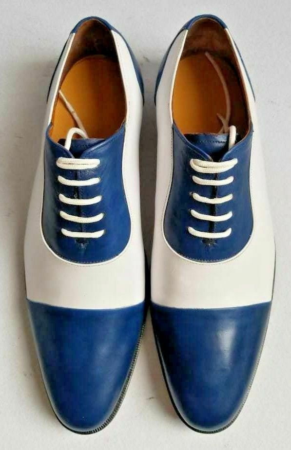 Handmade Men's Blue and White Two Tone Dress/Formal Oxford Leather Shoes