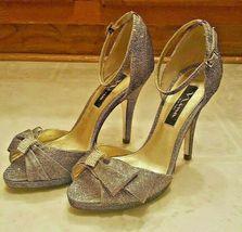Nina Glittery Gold wBlk Design Peep Toe Heels Ankle Strap Size 6 1/2 Rhinestones - $22.50